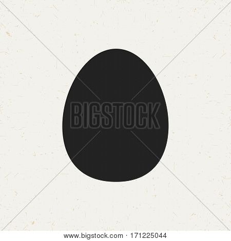 Flat monochrome egg icon in vintage style. Isolated egg icon for use in variety of projects. Black and white vector egg icon for web sites and apps.