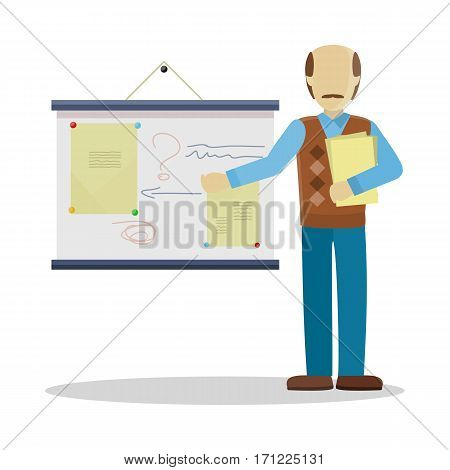 Bald lecturerin in brown sweater and blue pants with documents making a presentation near whiteboard with information. Business seminar. Personage in flat design isolated on white background.
