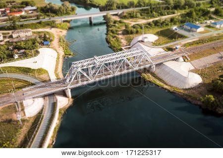 Railway bridge in Vladimir, Russia in aerial view summer