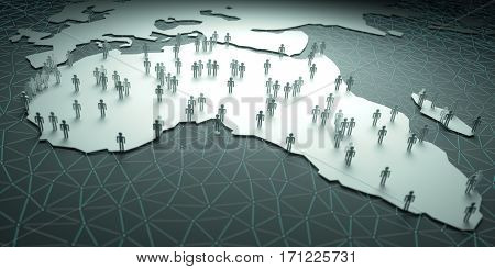 Africa Population. 3D illustration of people on the map representing the country's demography.