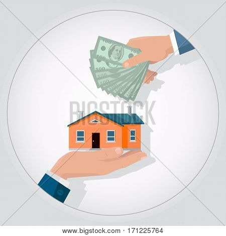 Real estate conceptual vector in flat design. Hands with house and money. Realtor agreement. Buying a new place for living. Illustration for real estate company advertising, housing concepts.