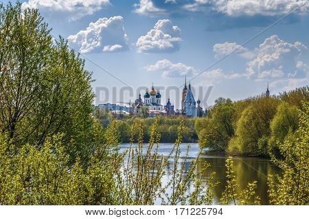 View of Kolomna churchs from Moscow river Russia