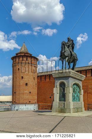 Monument to Dmitry Donskoy in front of Marinkina tower in Kolomna Kremlin Russia