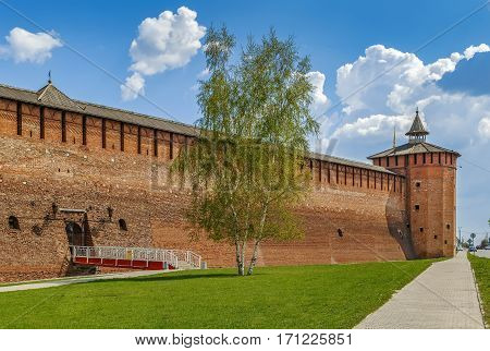View of Kolomna Kremlin wall and tower Russia