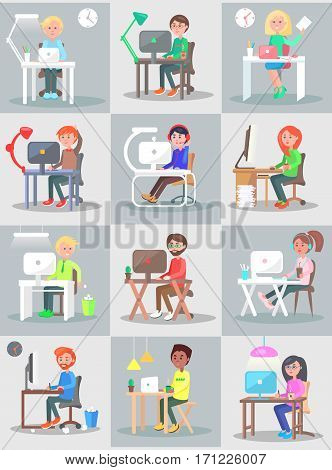 Man and woman work in office at the computer set. Worker at computer concept vector in flat design. Businessman sit at table and working on laptop. Office routine, business in internet, daily tasks