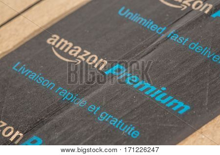 Paris, France - February 08, 2017: Amazon Prime Parcel Packages Closeup. Amazon, Is An American Elec