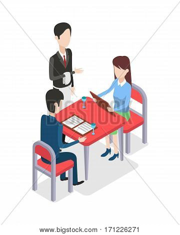 At restaurant waiter with white towel on hand is standing near table. Two customers at table are looking through menu. Woman holding menu in hands. Two glasses on red table. Flat design. Vector