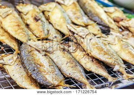 Thai Fried Mackerel For Sell In The Floating Market