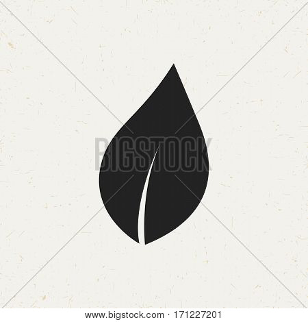 Flat monochrome leaf icon in vintage style. Isolated leaf icon for use in variety of projects. Black and white vector leaf icon for web sites and apps.