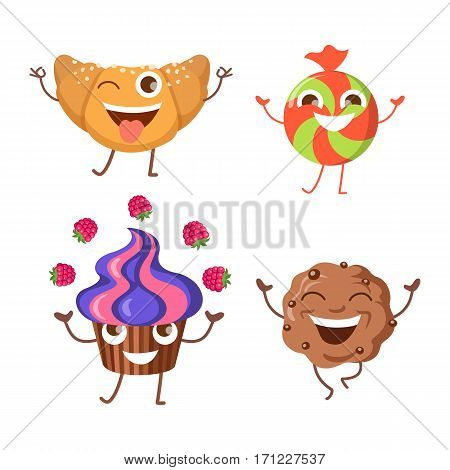 Sweets. Collection of four different confectioneries. Croissant with one open eye and raised hands. Running brown baked cracker with pieces of chocolate. Happy round candy. Fruit cupcake. Vector