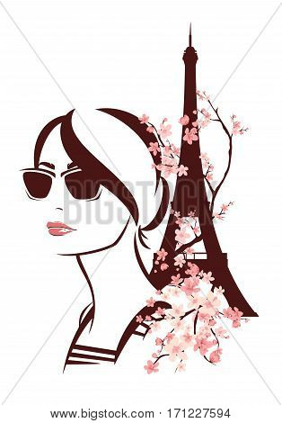young woman wearing sunglasses among blooming tree branches and eiffel tower - spring Paris vector design