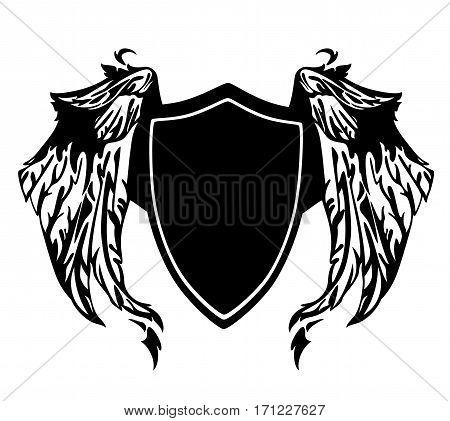 black and white heraldic shield with wings - monochrome vector design