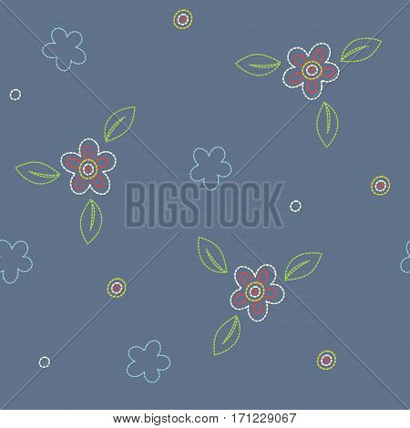 Seamless pattern with flowers on a blue background. It can be used for packing of gifts, tiles fabrics backgrounds. Sample for the websites. Vector illustration.