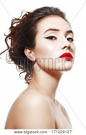 half length portrait of beautiful confident young woman isolated on white background in photostudio
