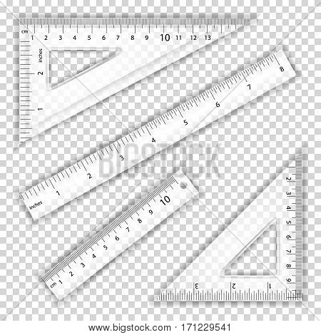 Transparent Ruler And Triangles Vector. Centimeter And Inch. Measure Tool Equipment Illustration. Several Instruments Variants