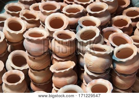 The background of the earthenware place on the floor