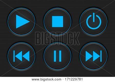 Media player buttons on dark background. Vector illustration