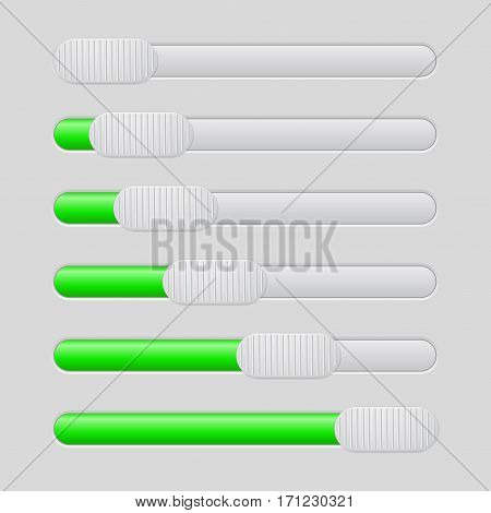 Slider with plastic button. Gray and green bar. Vector illustration