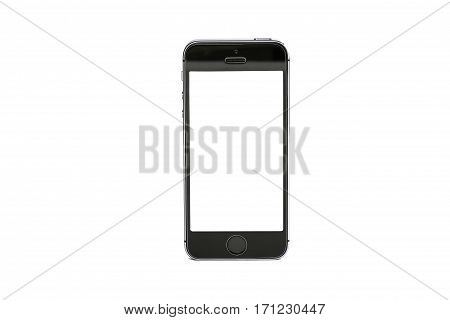BANGKOK THAILAND - July 31 2016: A brand new black Apple iPhone 5S with blank screen. The smartphone is sixth generation version of the iPhone line was released on September 21 2012