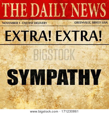 sympathy, article text in newspaper