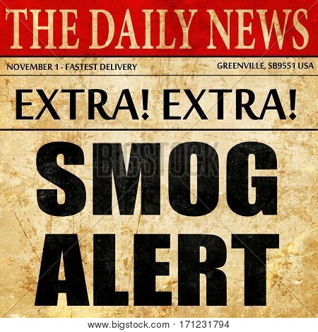 smog alert, article text in newspaper