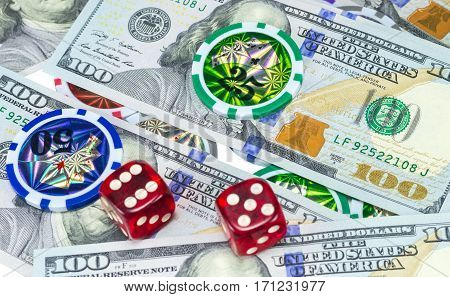 the U.S. dollars and dice as background