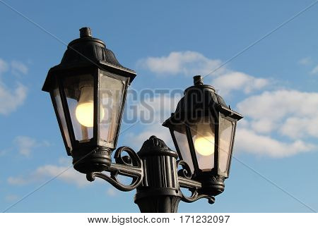 A Pair of Outdoor Electric Street Lamps.