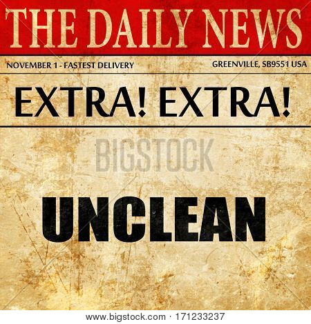 unclean, article text in newspaper