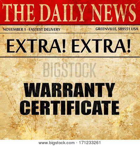 warranty certificate, article text in newspaper