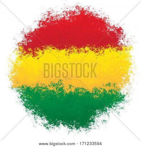 Color spray stylized flag of Bolivia on white background