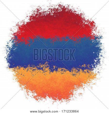 Color spray stylized flag of Armenia on white background