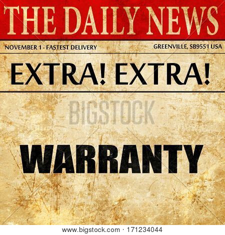 warranty, article text in newspaper