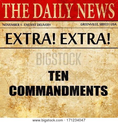 ten commandments, article text in newspaper
