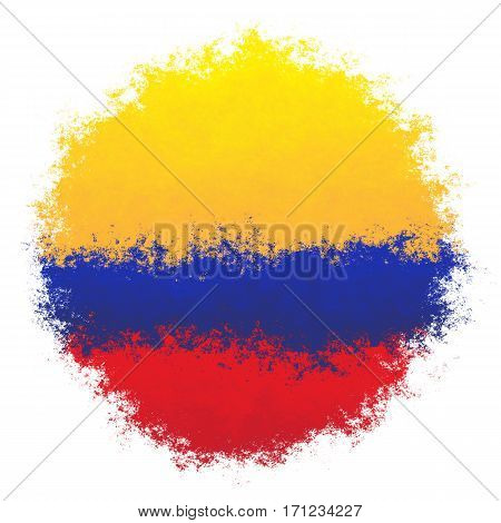 Color spray stylized flag of Colombia on white background