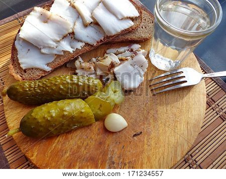 Closeup appetizer - Homemade lard with condiments. Fresh bread, a glass of vodka, pickled cucumber. Natural food. Traditional Dishes of Russian Cuisine