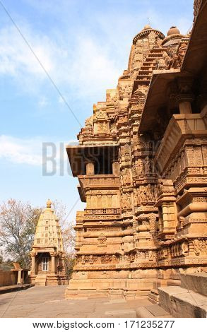 Lakshmana temple, built by Chandela Rajputs, is situated in the Western Group of temples (Temples of love), Khajuraho, Madhya Pradesh, India. Unesco World Heritage Site