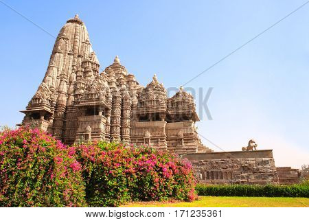 Devi Jagdambi Temple, Western Temples in Khajuraho (Temples of love), Madya Pradesh, India. Unesco World Heritage Site