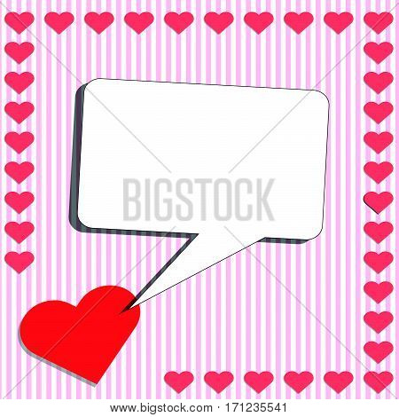 Card with red heart and shouting box