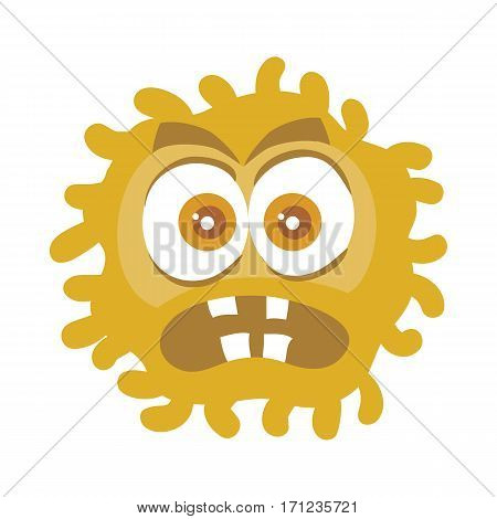 Bacteria cartoon character with eyes and mouth. Brown funny microbe flat vector illustration isolated on white background. Virus, germ, monster or parasite icon. For medical, hygienic, science concept