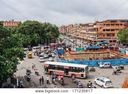 Main Street With Old Buildings In Jaipur, India