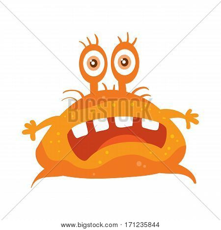 Bacteria cartoon character with eyes and mouth. Orange funny microbe flat vector illustration isolated on white background. Virus, germ, monster, parasite icon. For medical, hygienic, science concept