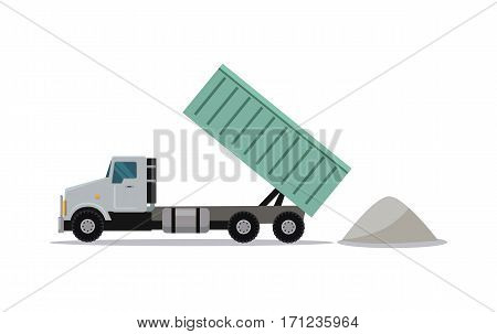 Heavy construction tipper icon. Dumper truck with raised container pours sand flat vector illustration isolated on white background. Transportation of building materials For cargo companies ad