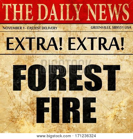 forest fire, article text in newspaper