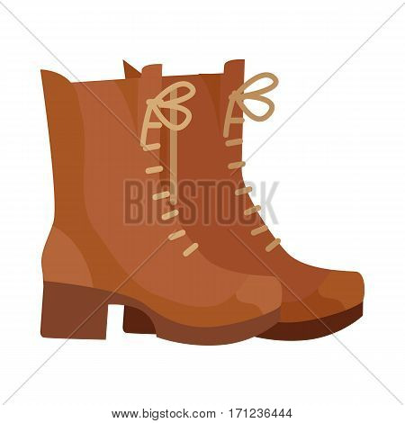 Pair of leather boots. Warm high top boots with heel from suede for autumn or winter seasons flat vector illustration isolated on white background. For shoes store ad, wear concept, app icon, web