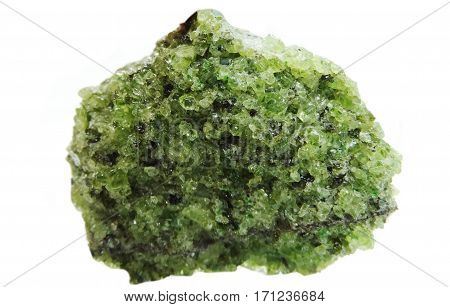 green peridote semigem geode crystals geological mineral isolated