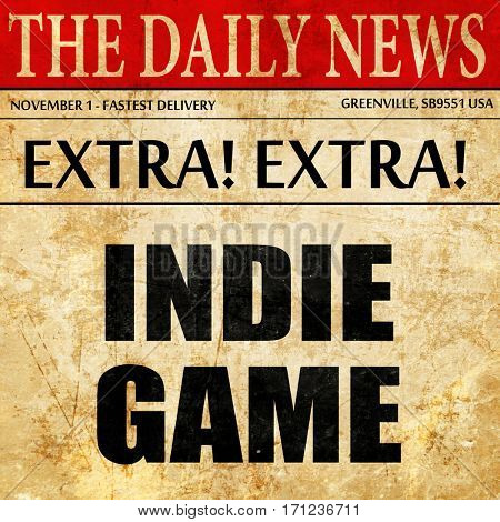 indie game, article text in newspaper