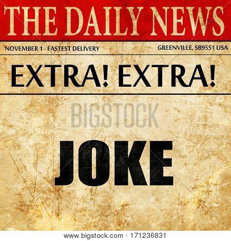 joke, article text in newspaper