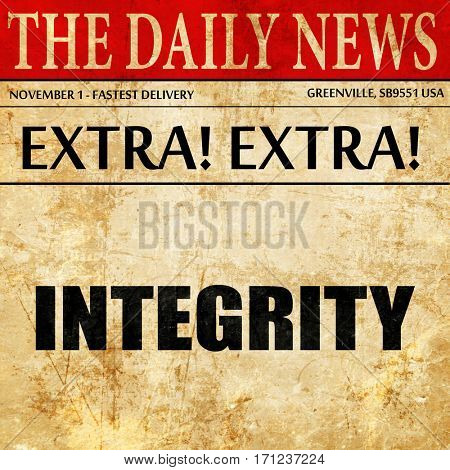 integrity, article text in newspaper