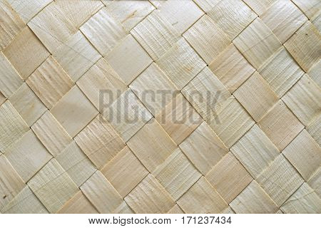 Pattern Of Bark Basket. Style Braided Pattern. Neutral Beige Woven Texture Image For Background