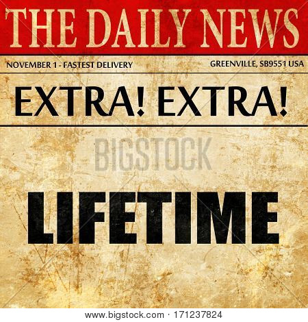 lifetime, article text in newspaper
